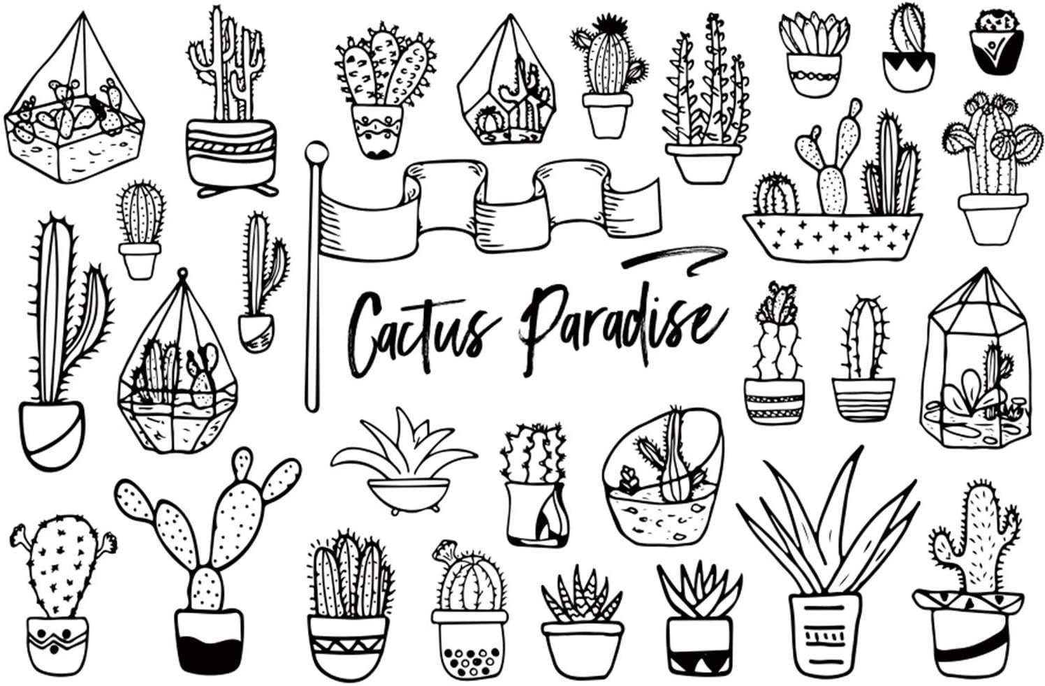 Leowefowa Cactus Paradise Doodles Backdrop 10x8ft Vinyl Different Cactus Pot Plants Freehand Sketch Illustrations Photography Background Event Party Activities Art Exhibition Photo Booth Poster