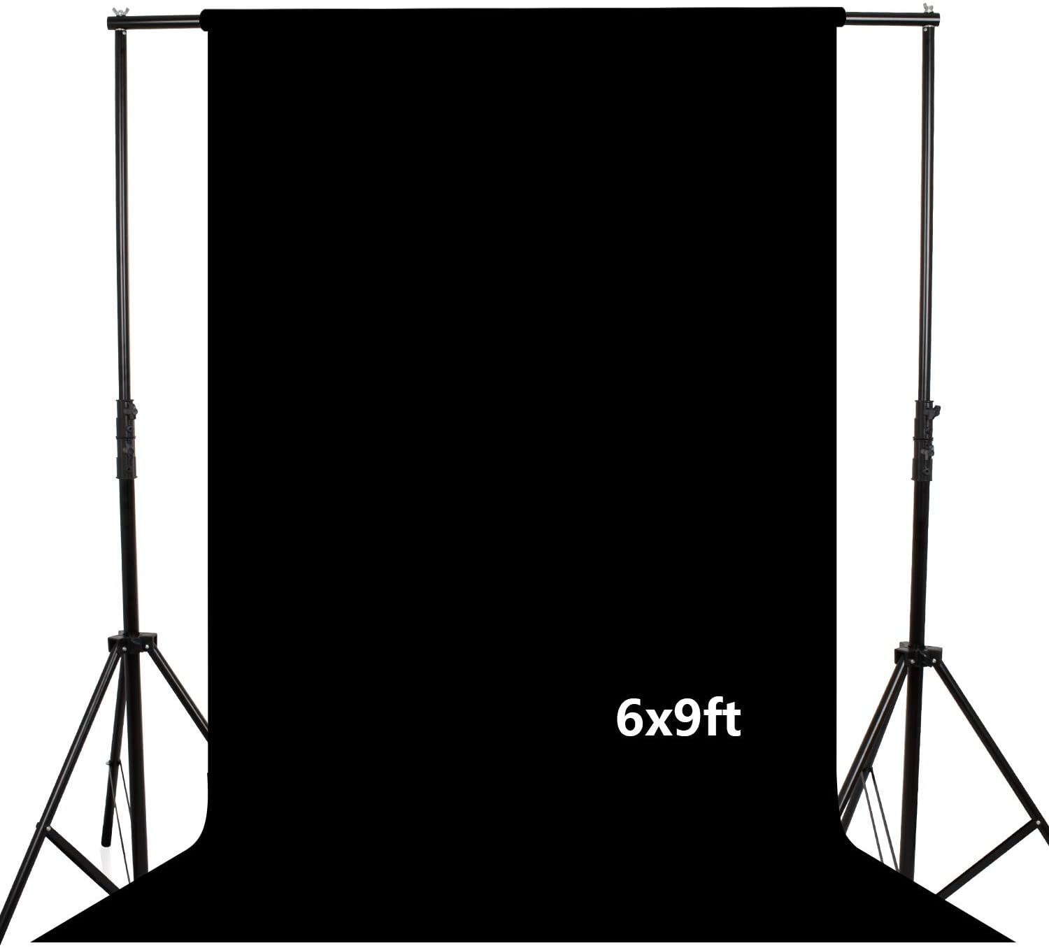 LDGHO Black 6x9 feet/1.8x2.8 Meters Photo Studio Collapsible Backdrop Background for Photography, Video and Television (Background Only)