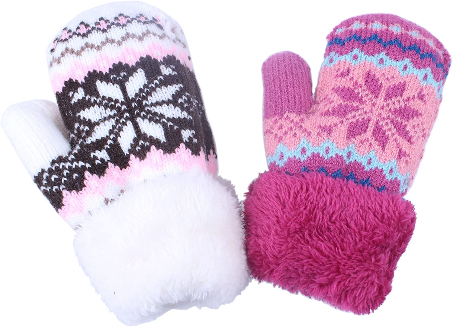 Toddler Baby Boy Girl Warm Winter Mittens Gloves With Fleece Lining Snowflake Design ¡­