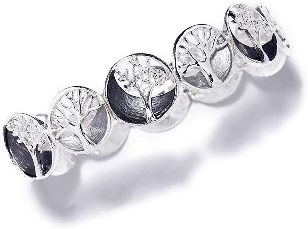 Cring Coco Silver Plated Bangles Bracelets for Women/Girls Trendy Tree of Life Fashion Gray White Enamel Bracelet Women's Jewelry