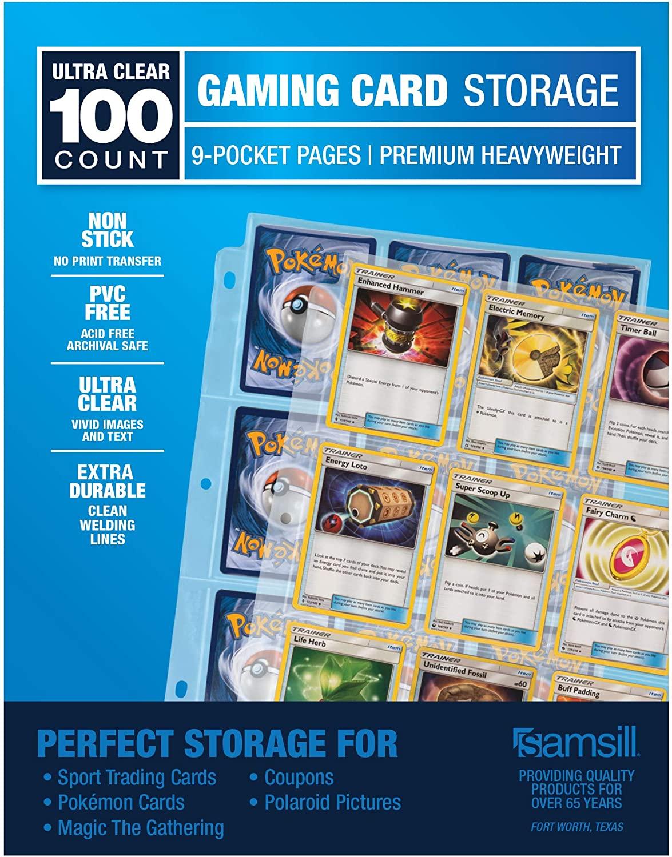 Samsill Premium 9 Pocket Trading Card Protectors for Pokemon, Magic the Gathering, for Standard 3 Ring Binder, 100 sheets, 900 Pockets