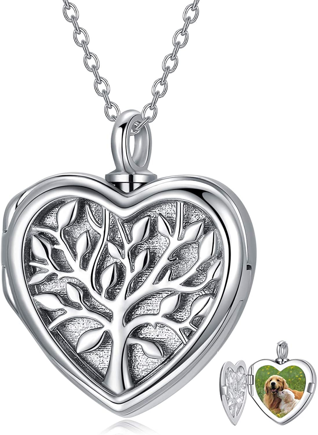Heart Locket Necklace That Hold Pictures Hair Sterling Silver Personalized Photo Locket Pendant Necklace for Women Girls