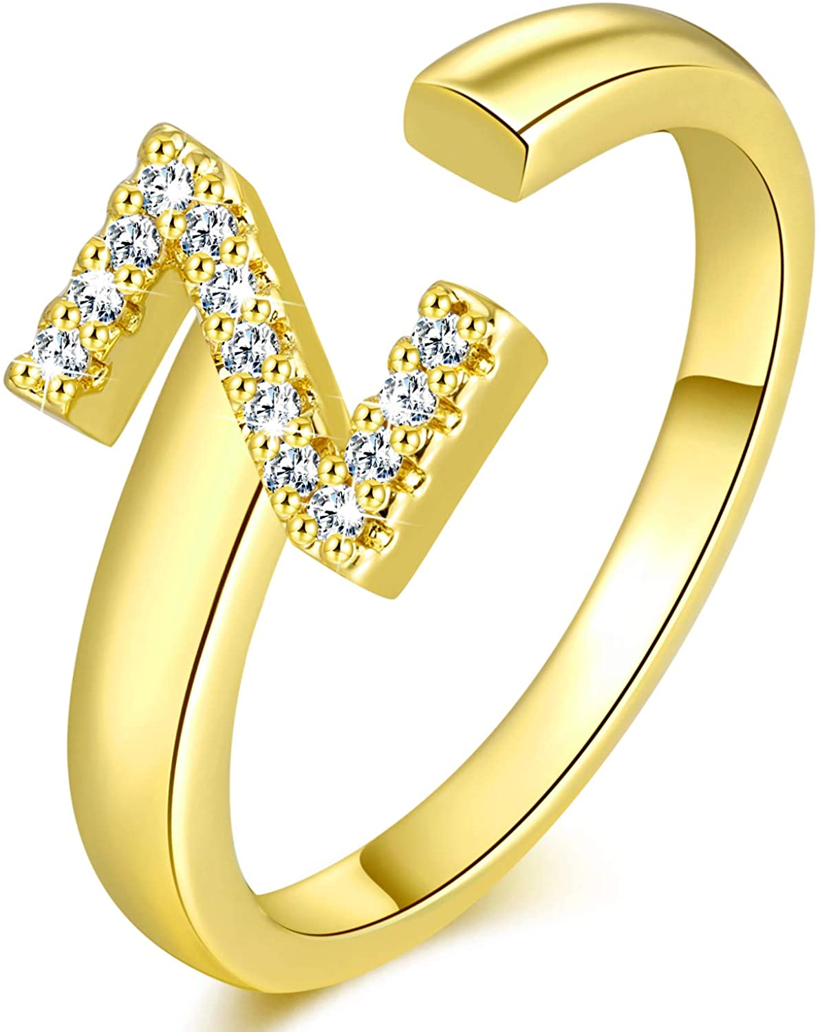 YELUN 18K Gold Initial Letter Ring Adjustable Crystal Inlaid Free Size Stackable Alphabet Letter Knuckle Rings Bridesmaid Gift A to Z