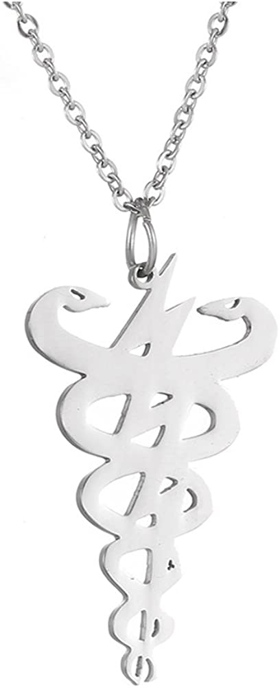 AOCHEE Fashion Double Snake Sign Pendant Necklace 3 Colors Medical Jewelry