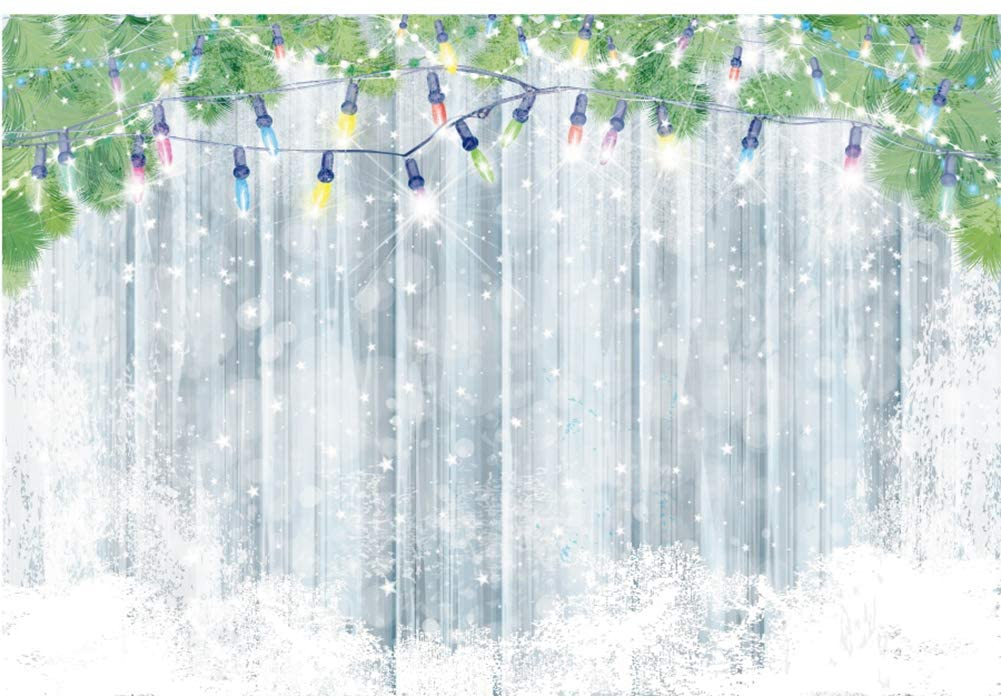 DORCEV 5x3ft Elegant Wedding Backdrop White Blurry Snowflake Lace Curtain Green Leaves Decor Photography Background Wedding Ceremony Lover Portraits Photo Studio Props Wallpaper