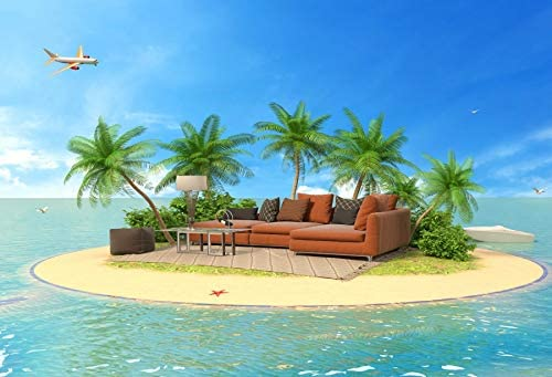 Baocicco 10x6.5ft Tropical Island Sofas Backdrops for Photography Coconut Palm Trees Plane Blue Pure Seawater Blue Sky White Cloud Backdrop Wedding Backdrop Summer Party Theme Photo Shooting Props