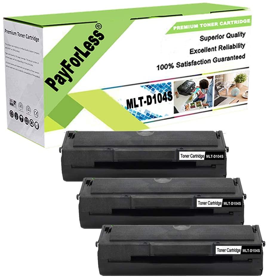 PayForLess Toner Cartridge MLT-D104S 104S Black 3PK Compatible for Samsung ML-1665 1860 1865W 1660 1661 1660K 1665K 1661K 1670 1676 1677 1675 SCX-3200 3217 3210 3205W