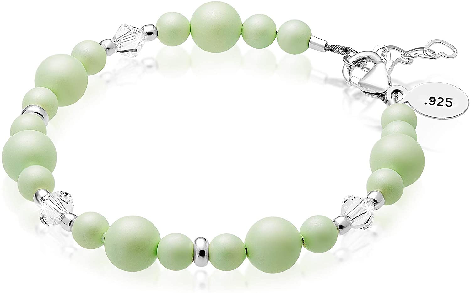 Baby Crystals 925 Sterling Silver Bracelets for Girls| Teen Girl Gifts | Cute Jewelry for Teen Girls Embellished with Simulated Pearls and Swarovski Crystals