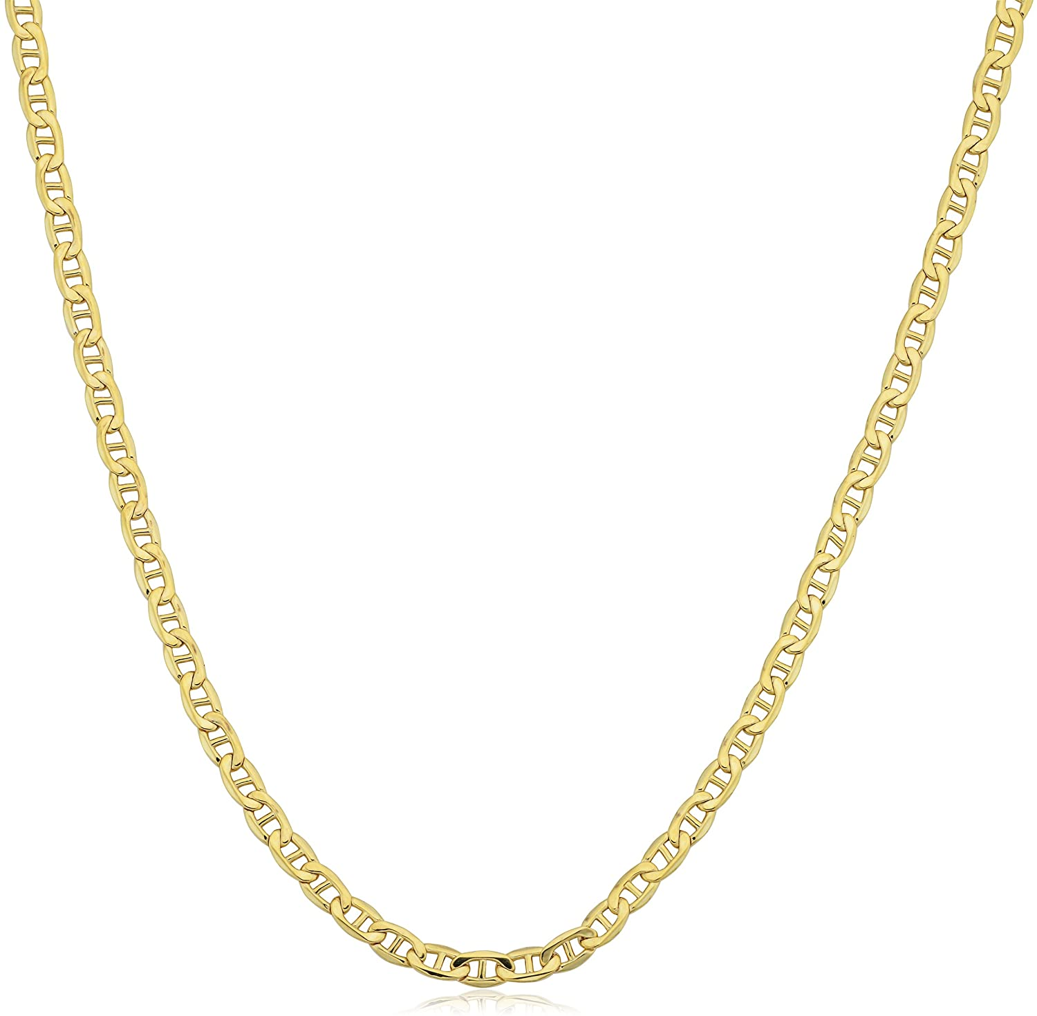 Kooljewelry 10k Yellow Gold 2.3 mm Mariner Link Chain Necklace (16, 18, 20, 22, 24, 30 or 36 inch)