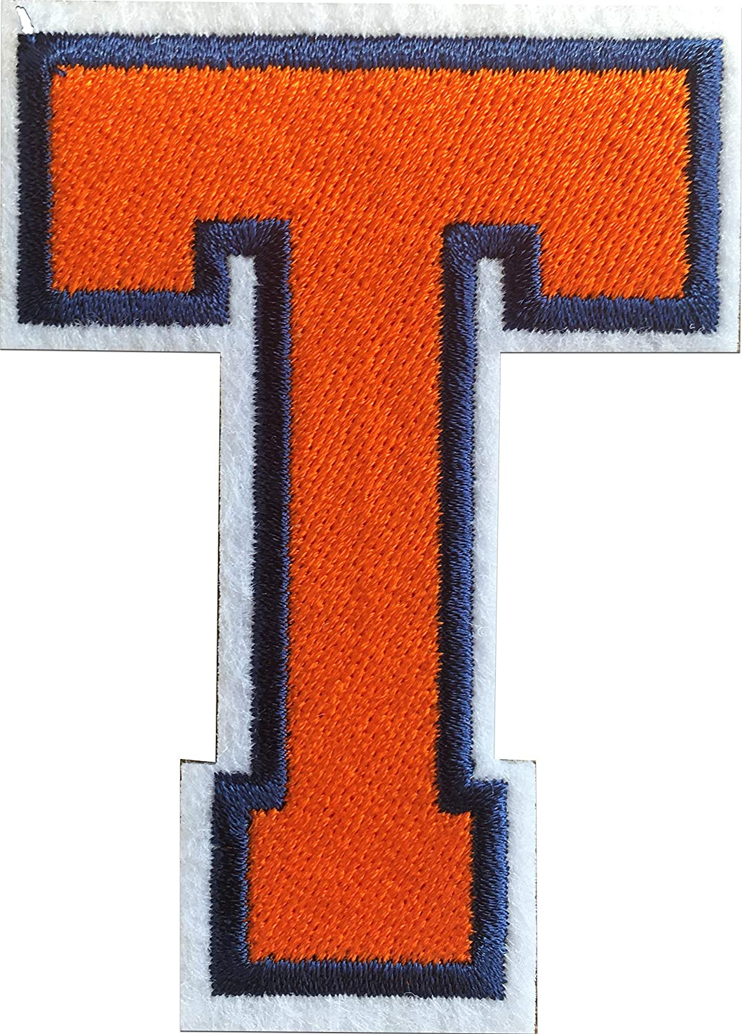 Letter T Iron on Patches Sew on Appliques 3.26 x 2.16 inches (Orange, T)