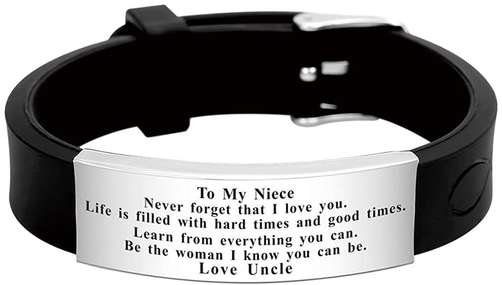 FALOGIJE Niece Bracelets from Auntie Uncle Adjustable Cuff Bangle Personalized Engraved Love Quote Handmade Gift