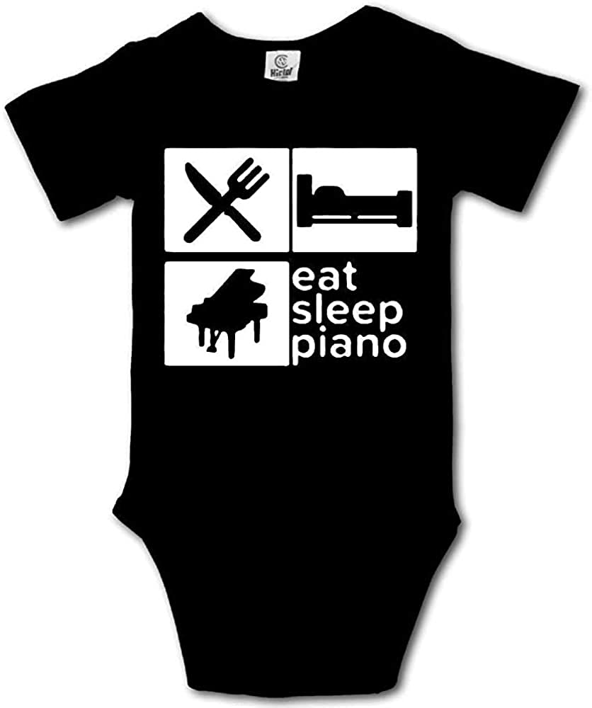 Uxjam Eat Sleep Piano Repeat Cotton Short Sleeves Climbing Bodysuits Baby Playsuit for Boys and Girls