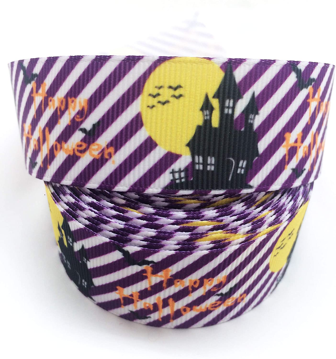 PEPPERLONELY 10 Yards 25mm (1 Inch) Nightmare Castle Happy Halloween Purple Printed Grosgrain Ribbon