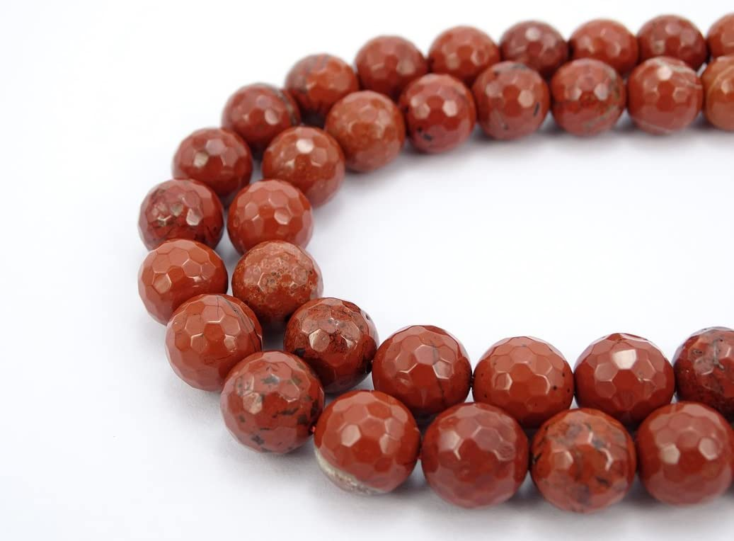 jennysun2010 Natural Red Jasper Gemstone 4mm Faceted Round Loose 90pcs Beads 1 Strand for Bracelet Necklace Earrings Jewelry Making Crafts Design Healing