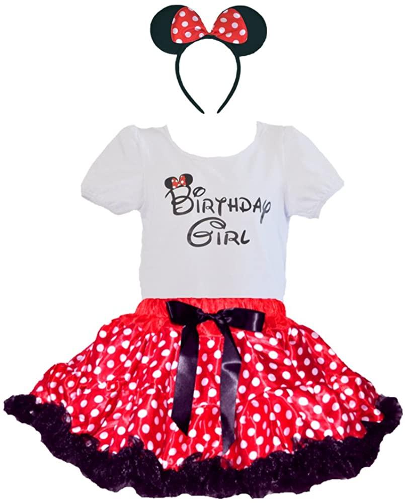 Birthday Girl T-Shirt, Red-White Polka Dot Black Ruffle Tutu & Headband Set (Age 5-RBh)