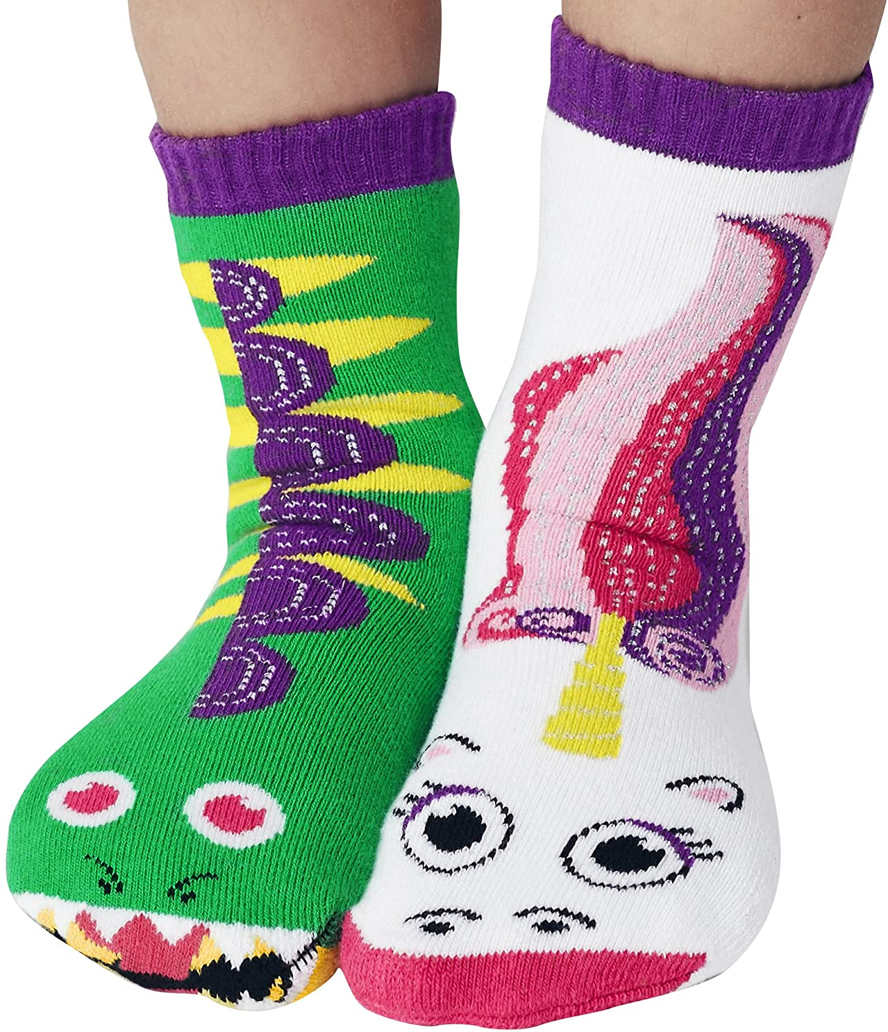 Dragon & Unicorn Magical Fantasy Pals Collectible Mismatched Silly Cute Socks for Boys Girls
