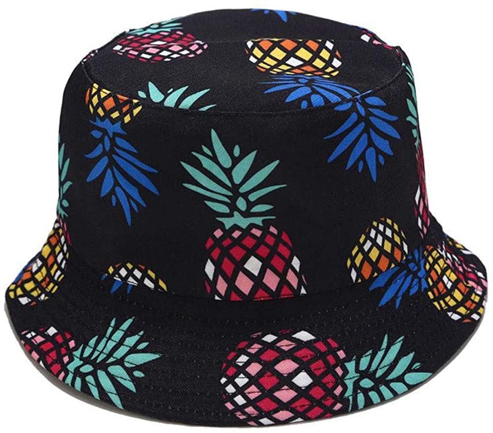 DQCUTE Unisex Cute Pattern Print Double Sides Travel Bucket Hats Summer Packable Reversible Outdoor Fisherman Cap