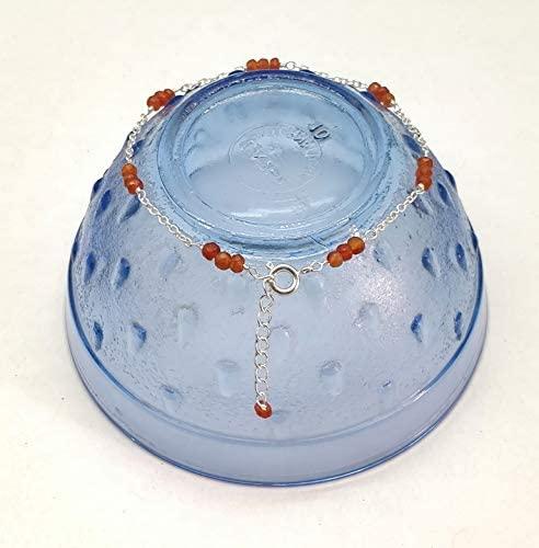 CUTSTONE Carnelian Bracelet, Carnelian Jewelry, Adjustable Chain Bracelet, 925 Sterling Silver Plated Bracelet, Gemstone JewelryLayering Bracelet