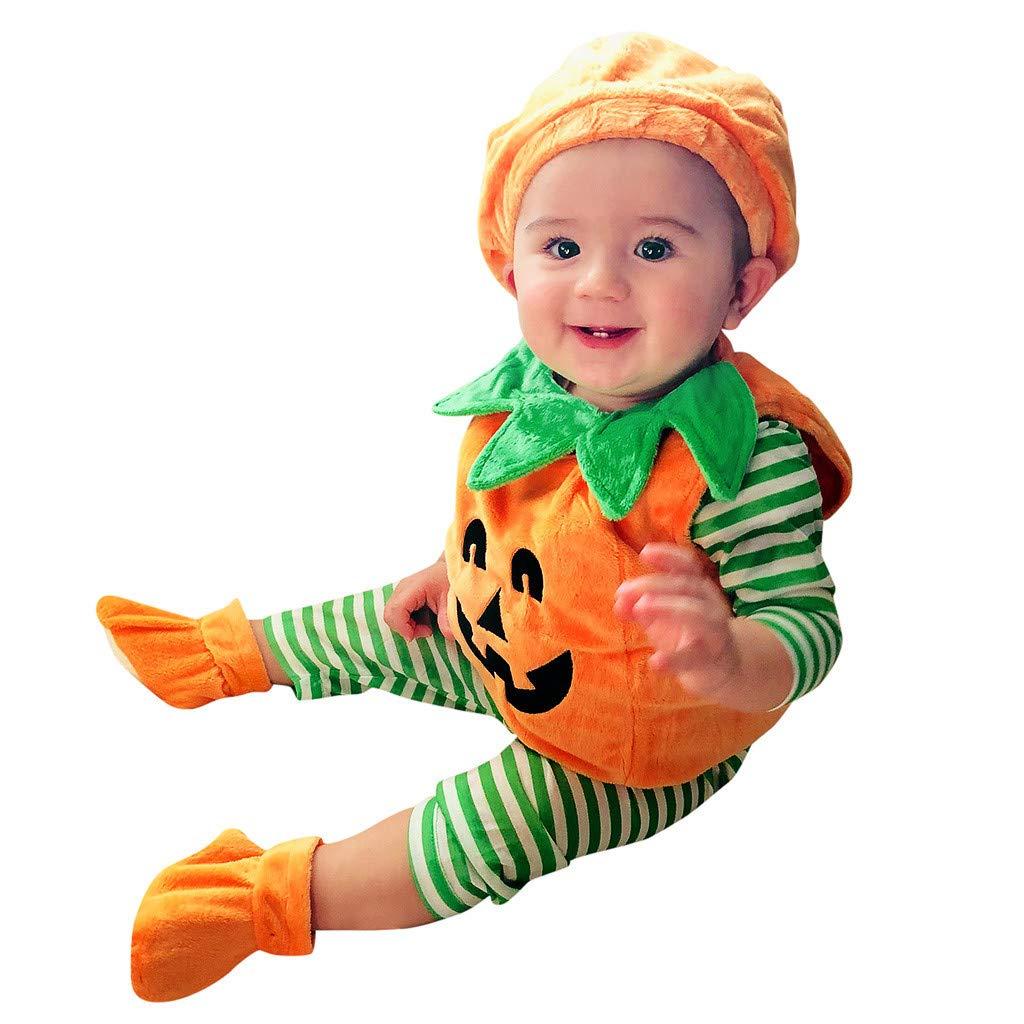 Toddler Baby Kids Girls Demon Pumpkin Halloween Romper+Cap+Shoes Outfits Set Stripe Funny Boy Outfits Set