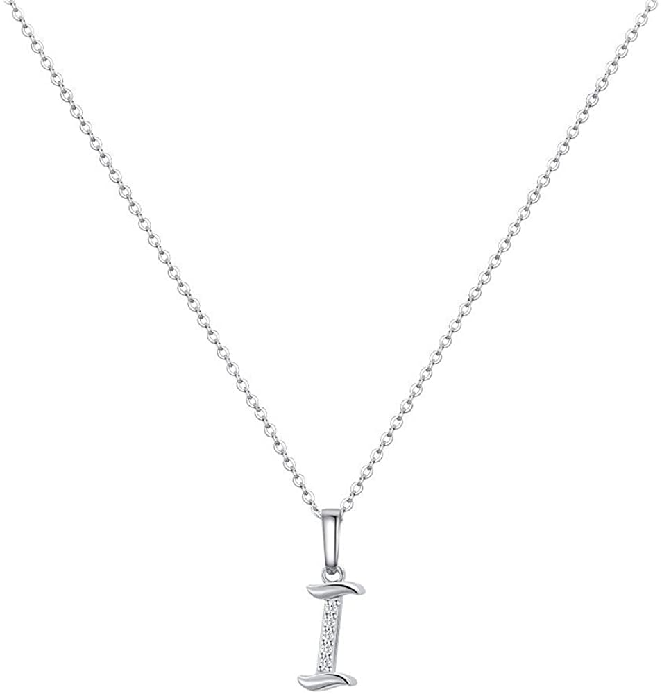 MONOZO Initial Necklace for Women Girls, 14K White Gold Plated Dainty Necklace with Initials, Letter Cubic Zirconia Monogram Small Initial Necklace Gifts for Women Teen Girls BFF Friendship