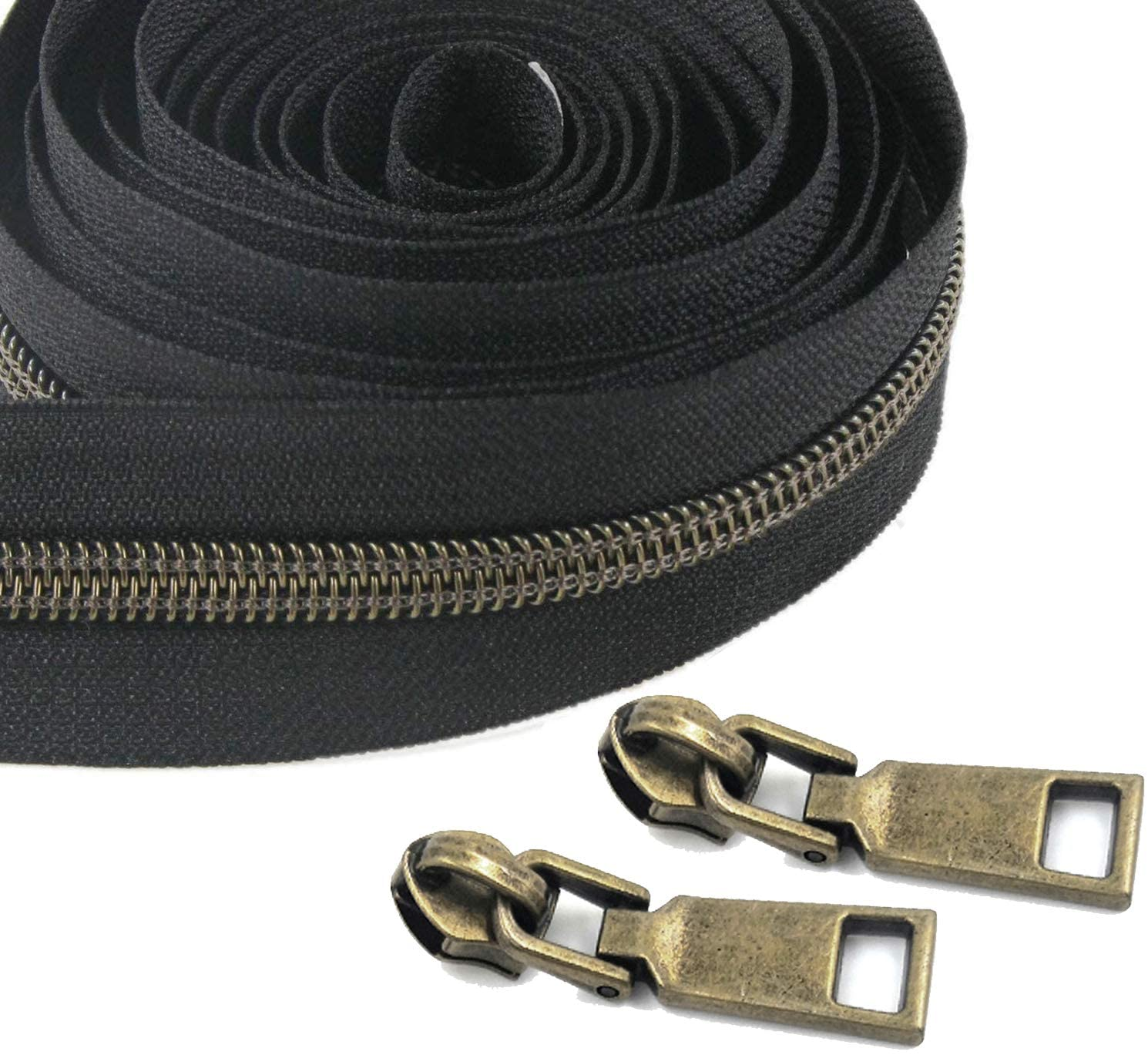 SBest Nylon Zippers #5 10 Yards Sewing Zippers Bulk DIY Zipper by The Yard Bulk with 20PCS Slider-Long Zippers for Tailor Sewing Crafts Bag (Anti-Brass Teeth Black Tape)