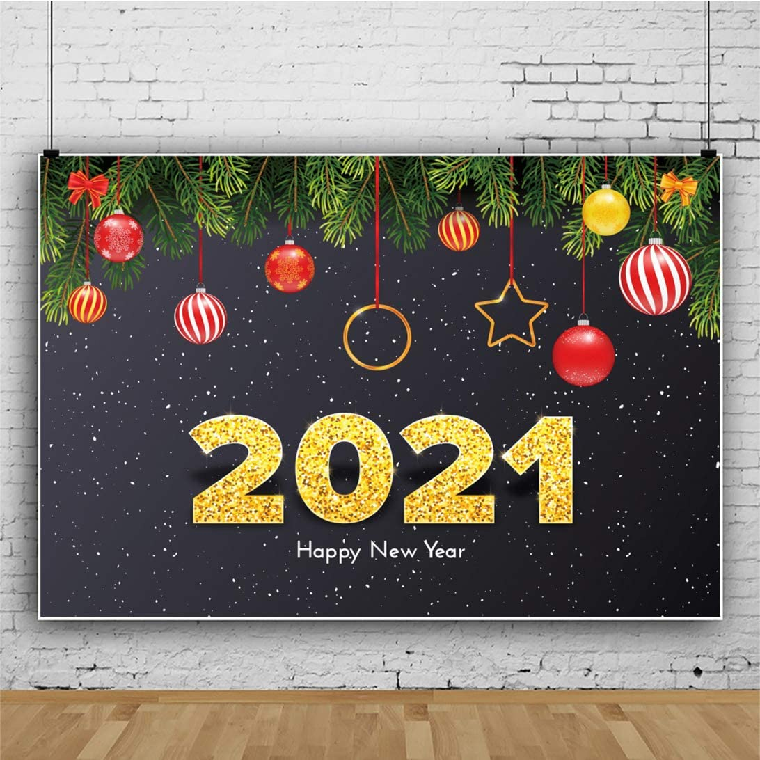 OERJU 10x8ft Happy New Year 2021 Christmas Backdrop Starry Night Skies Balls Photography Background Family Portrait Photo Props Kids Adults Photo Wallpaper YouTube Decora Newborn Baby Shower Banner