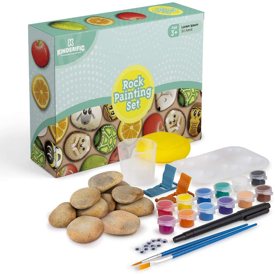 Rock Painting Kit, by Kinderific, Includes 10 Rocks, Waterproof Paints, Googly Eyes, Stands, Painting Booklet Guide, Stickers, Paint Brushes, Non - Toxic, Perfect for Kids