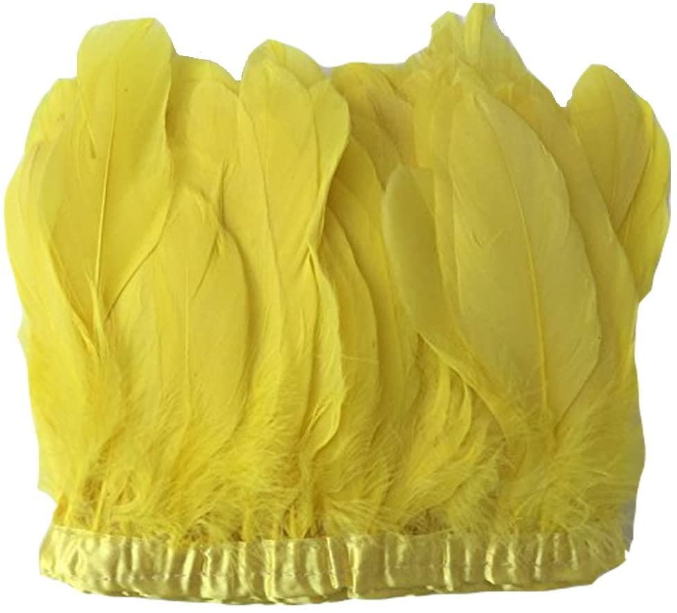 MELADY 2 Yards Fashion Dress Sewing Crafts Costumes Decoration Goose Feathers Trims Fringe with Satin Ribbon Tape (Yellow)