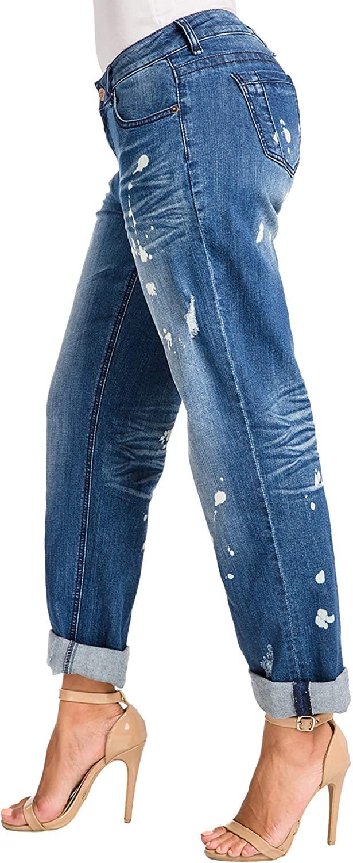 Poetic Justice Women's Curvy Fit Blue Bleach Spots Rolled Cuff Boyfriend Jeans
