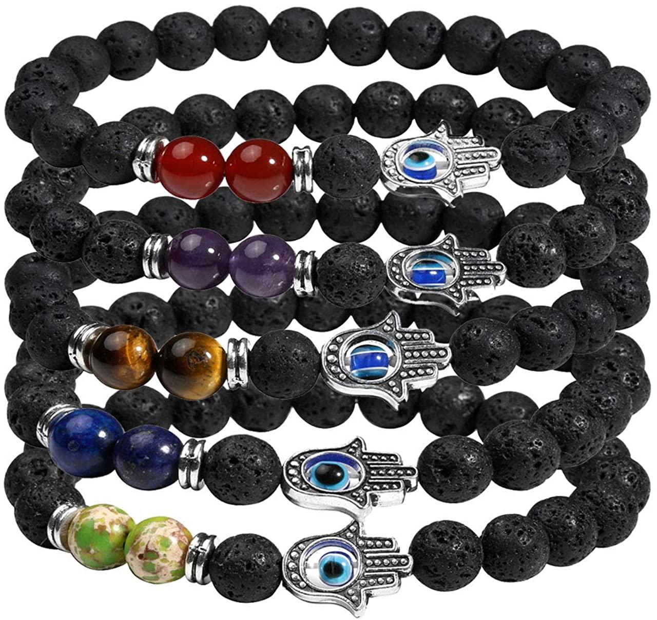 Manfnee 7 Chakra Evil Eye Bracelet Lave Stone Beaded Essential Oil Diffuser Bracelet for Men Women