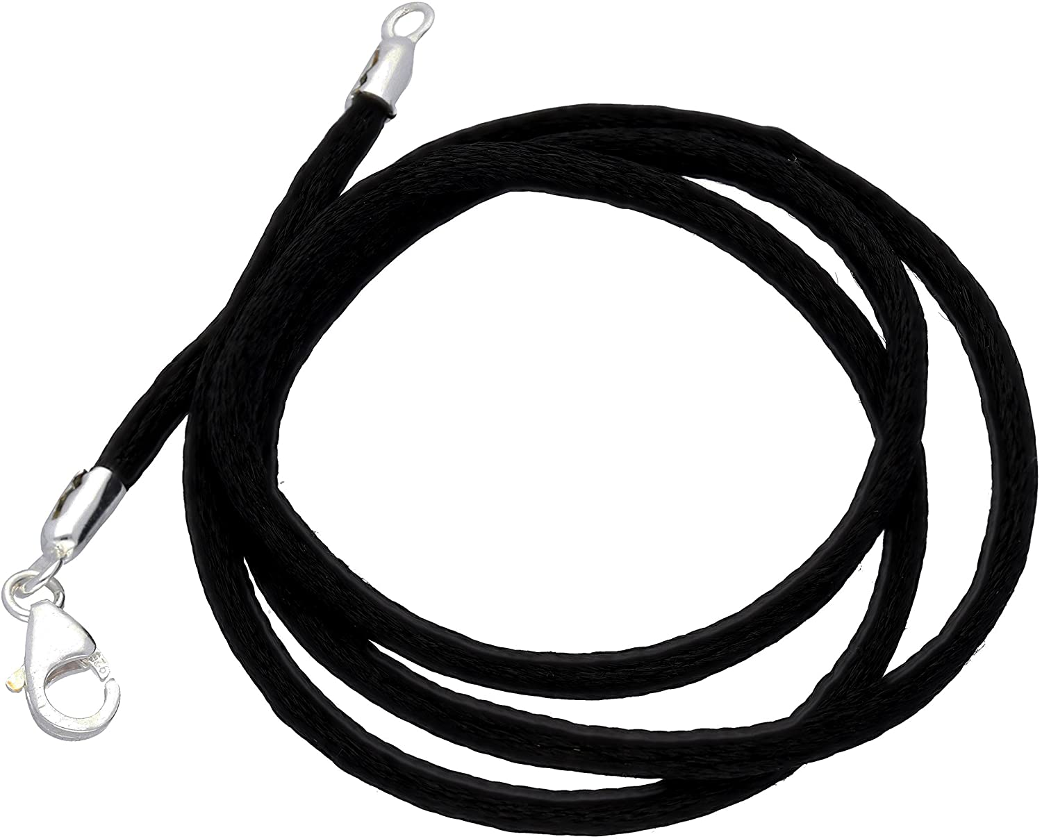 New Black Silk Cord Chain Necklace Sterling Silver(Lengths 15