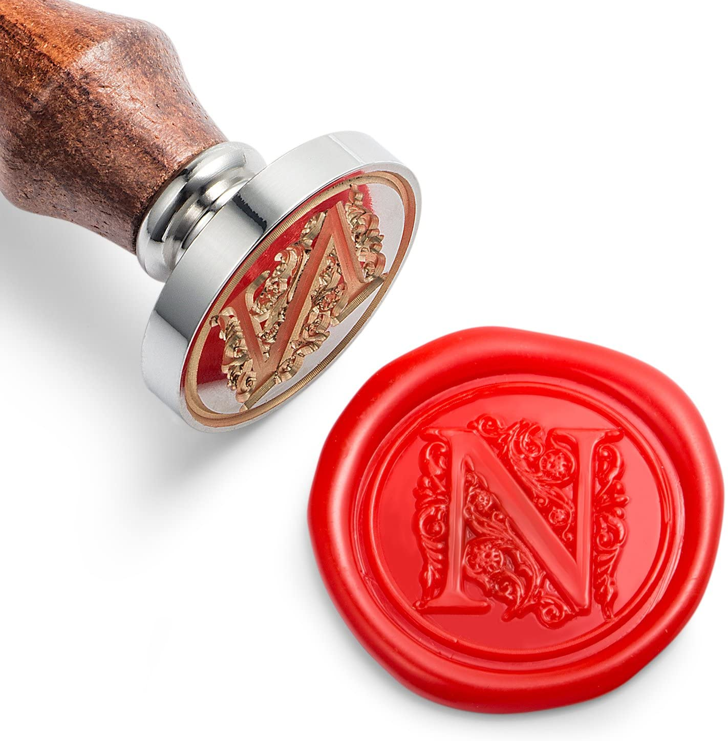 Mceal Wax Seal Stamp, Silver Brass Head with Wooden Handle, Regal Letter N