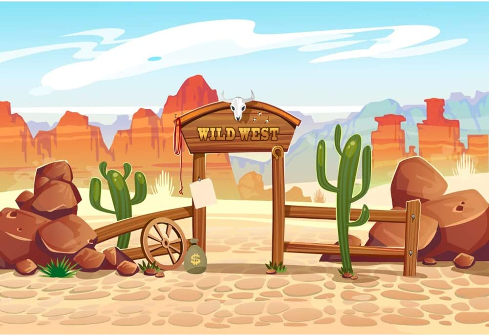 DORCEV 8x6ft Cartoon Wild West Photography Backdrop Wild West Rodeo Cowboy Theme Birthday Party Background Desert Landscape Cactus Party Banner Kids Adults Artistic Portrait Photo Studio Props