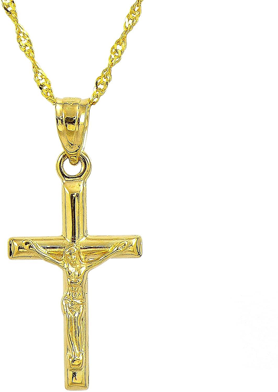 14K Yellow Gold Small Jesus Crucifix Cross Pendant Necklace