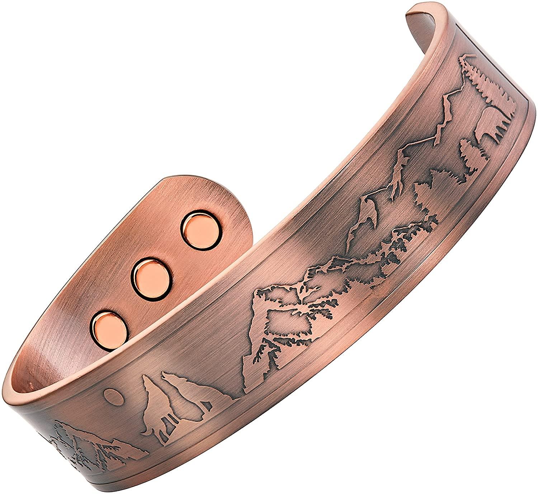 Willis Judd Wolves Howling Full Moon Wildlife Men's Pure Copper Magnetic Bracelet Bangle