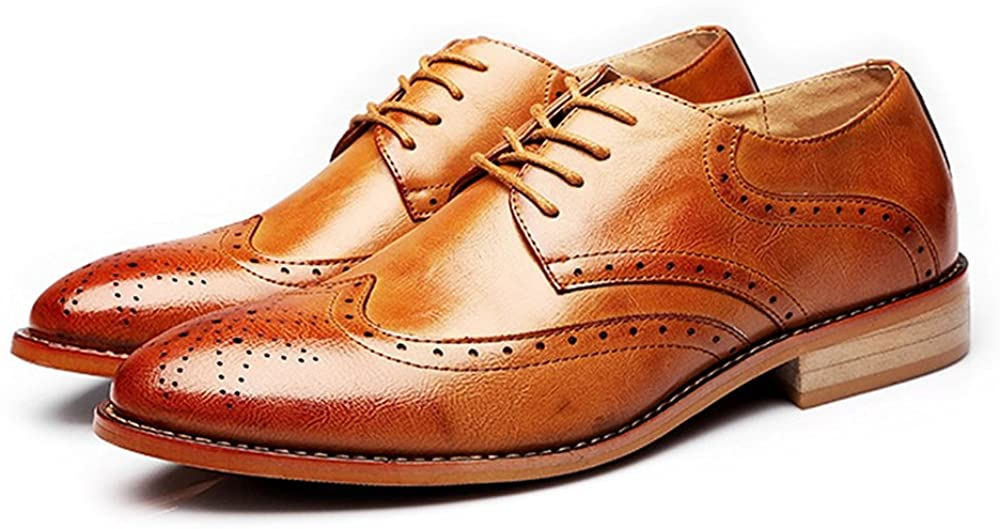 Muyin Men's Business Brogue Tuxedo Dress Shoes Matte Wingtip Hollow Carving Genuine Leather Lace up Lined Oxfords