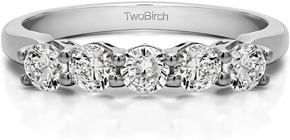 Sterling Silver CZ .5 CT Five Stone Prong with Designed Profile Wedding Ring (3 To 15 1/4 Size Interval)