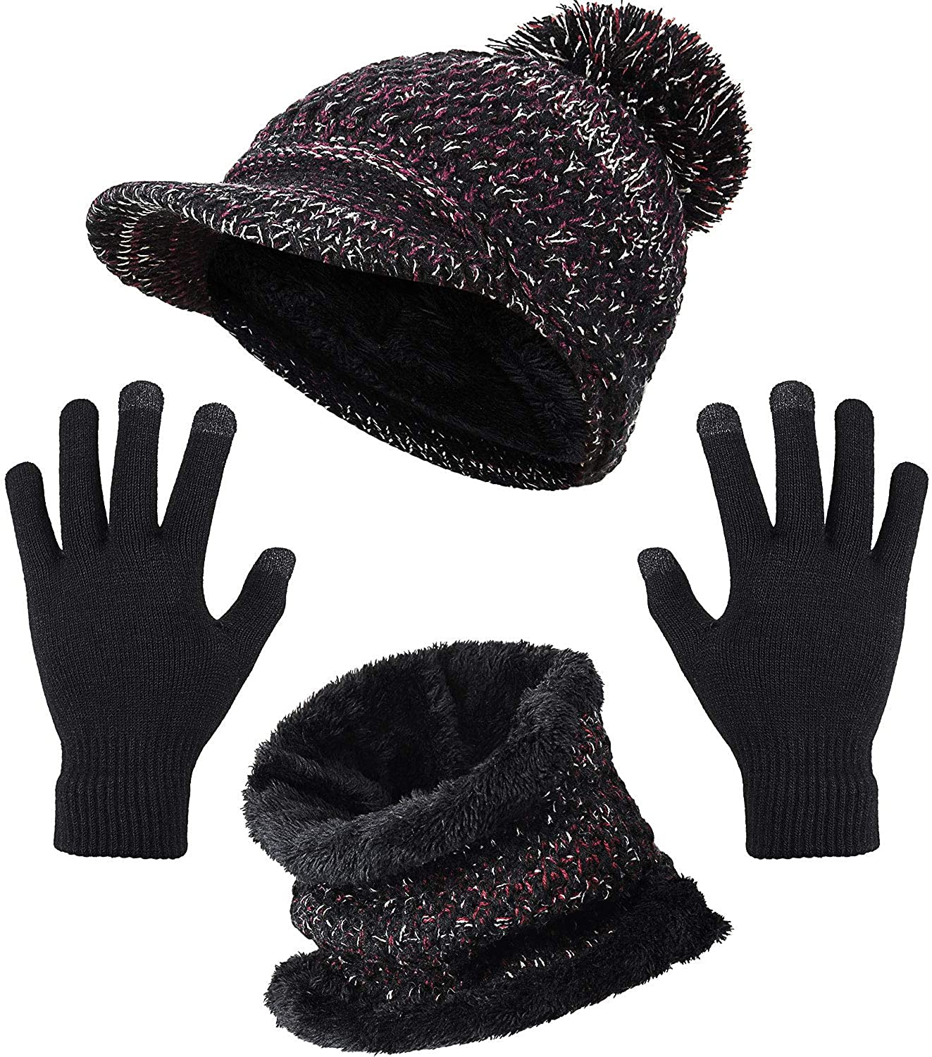 Winter Knit Visor Newsboy Cap Neck Warmer Loop Scarf Touch Screen Gloves Set