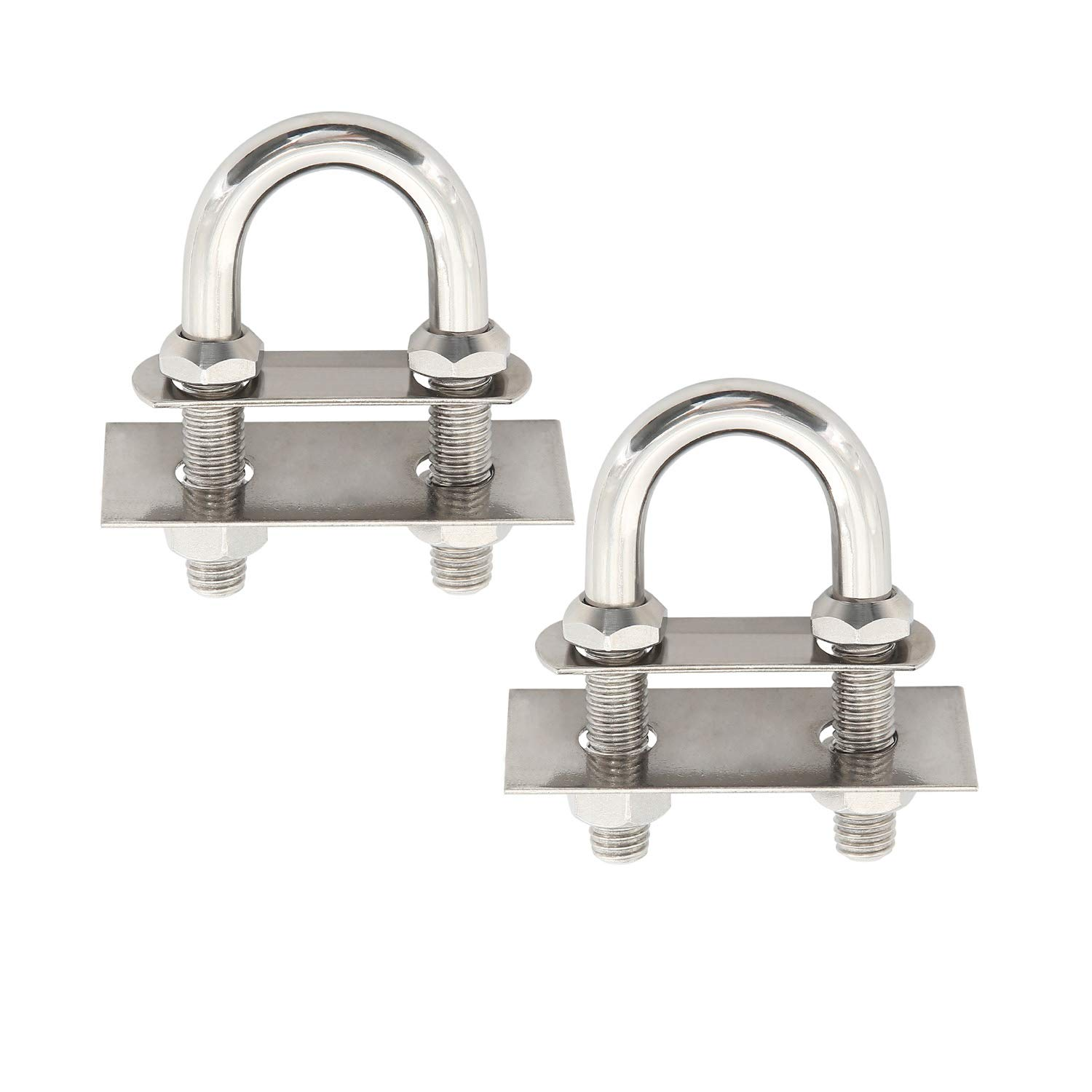 NovelBee 2-Pack of Stainless Steel Bow Stern Eye Tie Down U Bolt with Nuts and Washers,Stock Dia.1/2