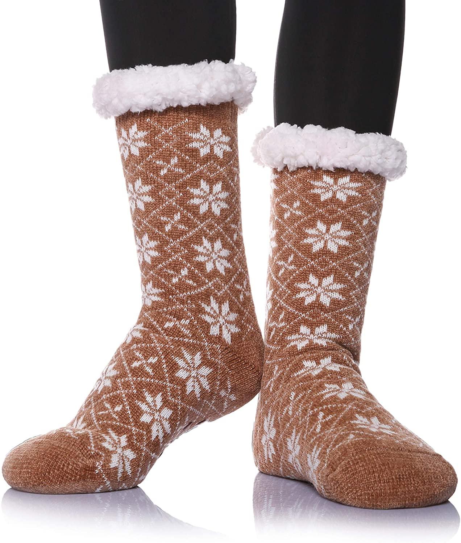 DoSmart Women's Super Soft Warm Stockings Knit Winter Fuzzy Fleece Lined Home Slipper Christmas Socks