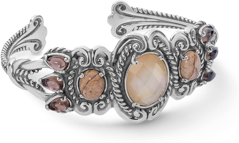 Carolyn Pollack Sterling Silver Golden Yellow Tassels Cuff Bracelet - Small