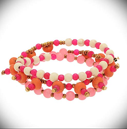 Light Pink White Gold Bead Stone Fashion Jewelry Beaded Stretch Wrap Crystal Fashion Jewelry Bracelet For Women