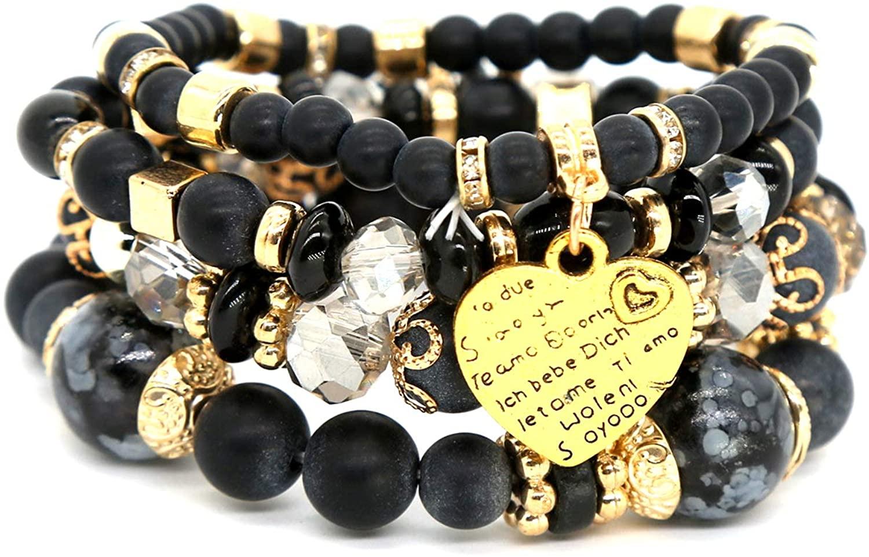 ELISTA Chakra Beaded Bracelets For Women Stackable Multilayer Friendship Stretch Boho Bracelets Heart Love Charm Best Friend Wrap Vsco String Bracelets Jewelry