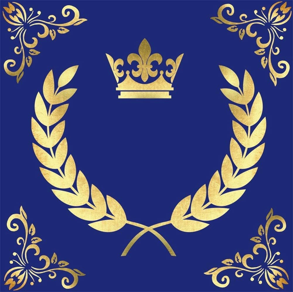 AOFOTO 8x8ft Royal Blue Birthday Backdrop for Photos Gold Floral Pattern Wheat Crown Kids Adults Birthday Party Photography Background Customizable Backdrops Photo Studio Props