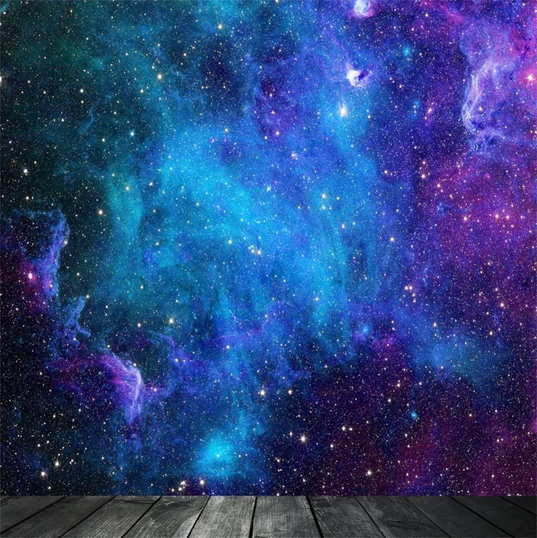 AOFOTO 5x5ft Dreamy Starry Sky with Wooden Board Photography Background Universe Galaxy Cosmic Nebula Backdrop Night Scenic Photo Studio Props Infant Girl Child Boy Artistic Portrait Vinyl Wallpaper