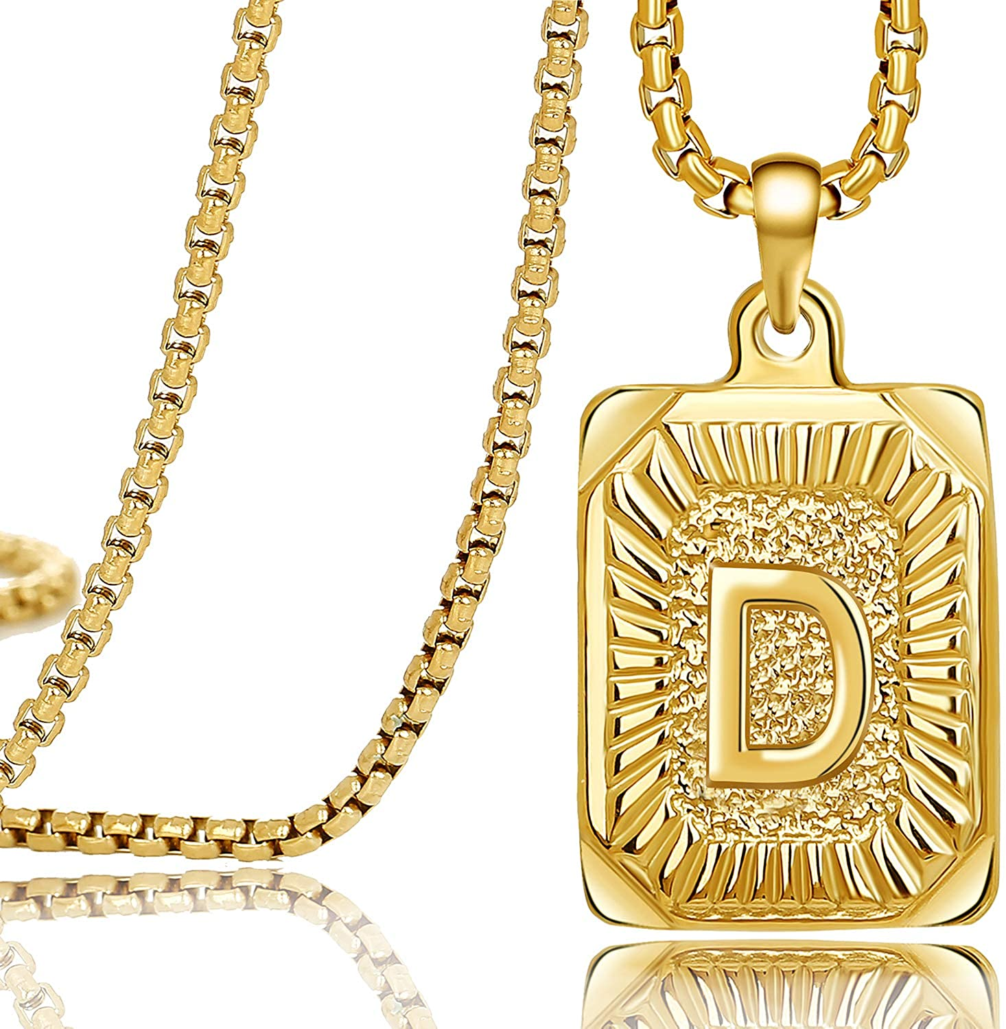 Joycuff Gold Square Initial Necklaces for Women Men Teen Girls Boys Husband Dad Mom Daughter Personalized Name 26 Alphabets Stainless Steel Box Chain Vintage Medallion Pendant Necklace