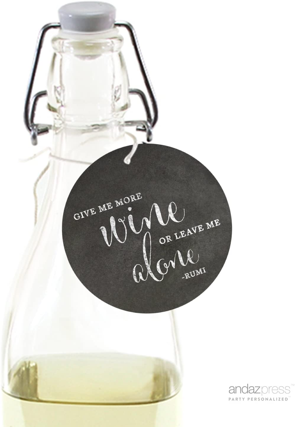 Andaz Press Wine Bottle Circle Gift Tags, Vintage Chalkboard Style, Either Give Me More Wine or Leave Me Alone, Rumi Quote, 24-Pack