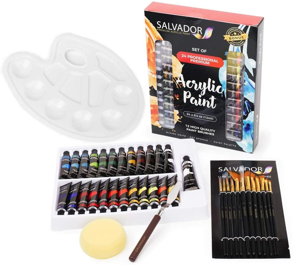 Salvador Acrylic Full Case (36 pcs) of 40 Piece Paint Set - 24 Colors (12ml/Tube), Paint Kit with Premium Paint Brushes, Mixing Knife, Paint Pallet and Sponge