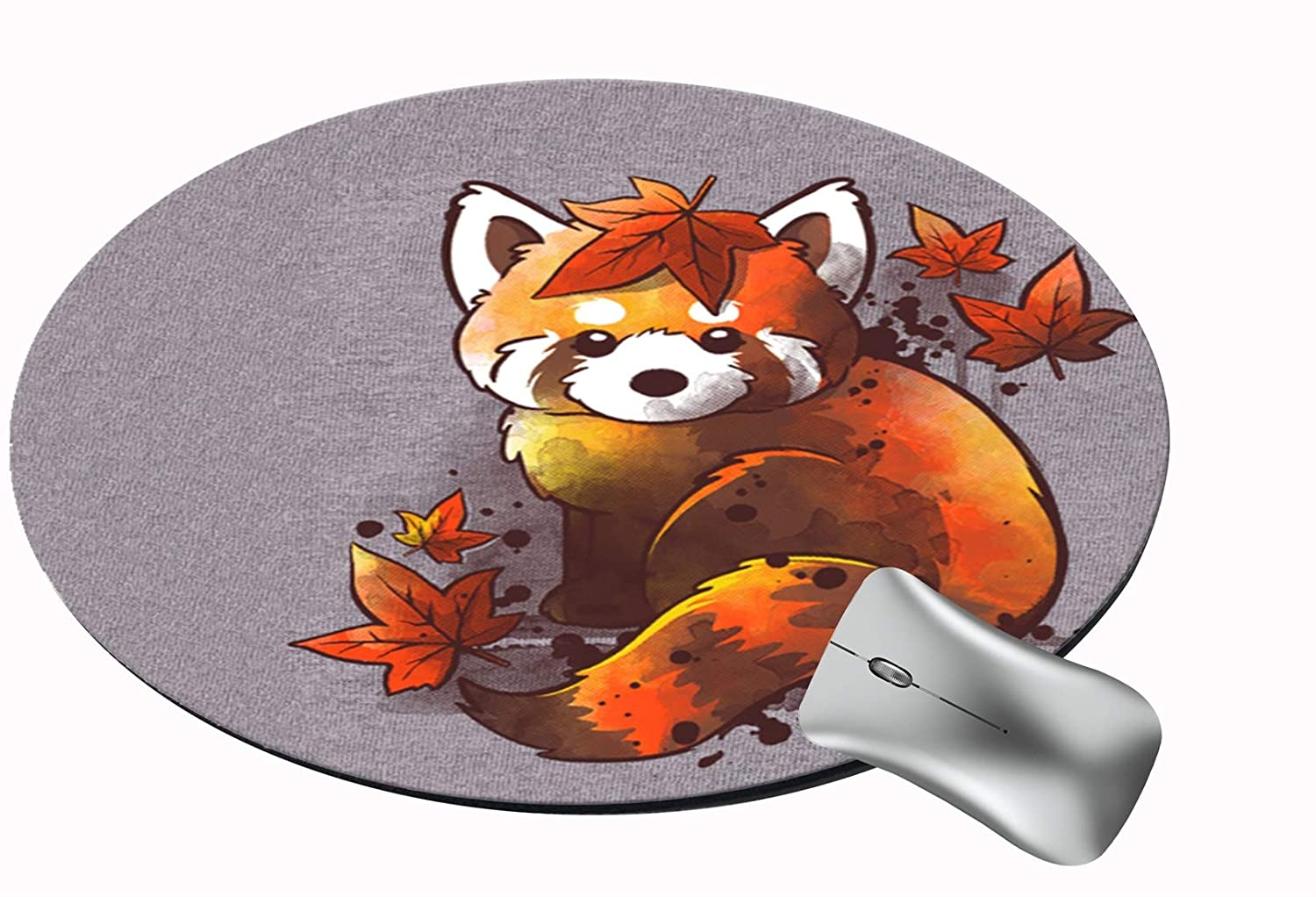 FQJNS Customized Round Office Mouse Pad Non-Slip Rubber Mouse Pads Cute Mat (Red Panda red Leaves)
