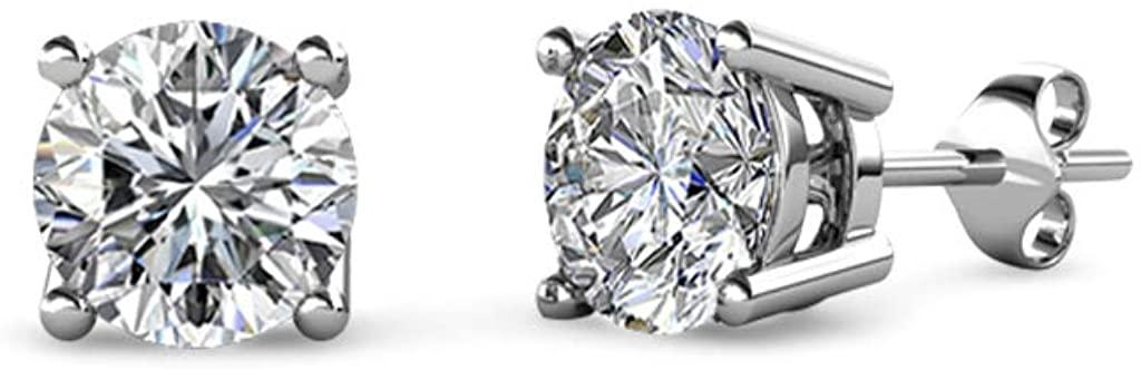 TriJewels AGS Certified Diamond Solitaire Stud Earrings 1/4 ctw 18K Gold